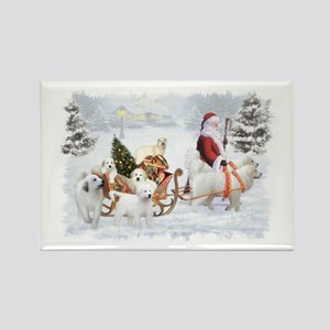 Great Pyrenees and Santa Rectangle Magnet