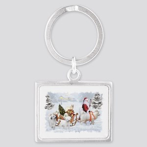 Great Pyrenees and Santa Landscape Keychain
