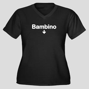 Bambino Women's Plus Size V-Neck Dark T-Shirt