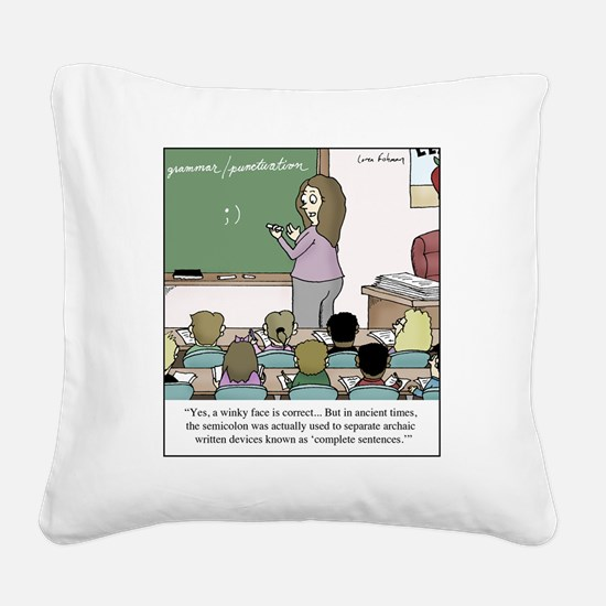 Using the Semicolon Square Canvas Pillow