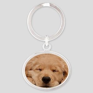 Golden Retriever Puppy Oval Keychain