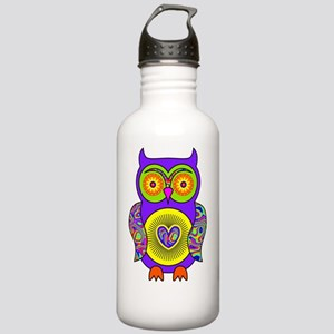 Purple Psychedelic Owl Stainless Water Bottle 1.0L