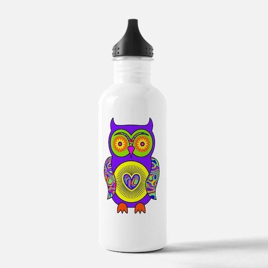 Purple Psychedelic Owl Water Bottle