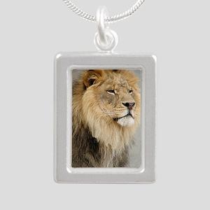 Lion Lovers Silver Portrait Necklace