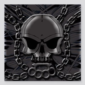 "Brass knuckles skull 4 Square Car Magnet 3"" x 3"""
