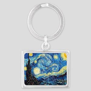 Starry Night Landscape Keychain