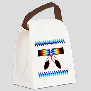 NATIVE AMERICAN BEADED STRIP Canvas Lunch Bag
