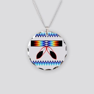 NATIVE AMERICAN BEADED STRIP Necklace Circle Charm