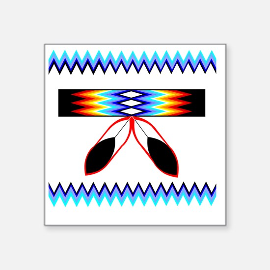 """NATIVE AMERICAN BEADED STRI Square Sticker 3"""" x 3"""""""