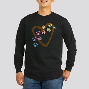 Paw Heart Long Sleeve Dark T-Shirt