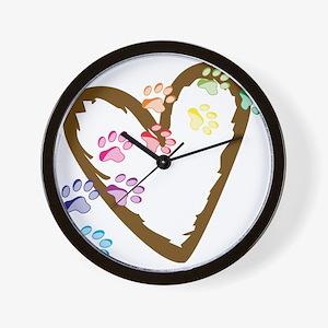 Paw Heart Wall Clock