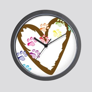 Paw Heart Wall Clock