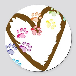 Paw Heart Round Car Magnet