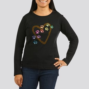 Paw Heart Women's Long Sleeve Dark T-Shirt