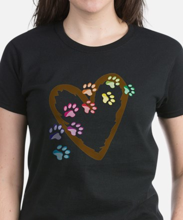 Paw Heart Women's Dark T-Shirt
