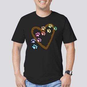 Paw Heart Men's Fitted T-Shirt (dark)
