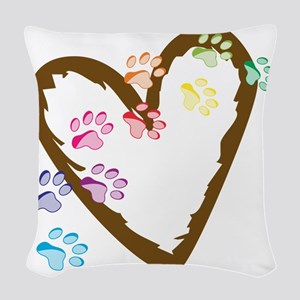Paw Heart Woven Throw Pillow