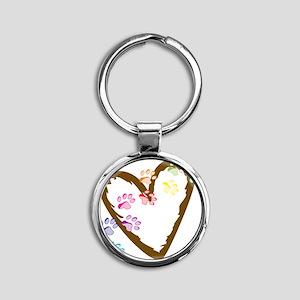 Paw Heart Round Keychain