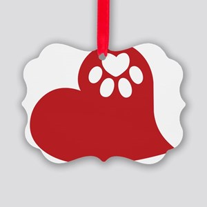 Dog Paw Heart Picture Ornament