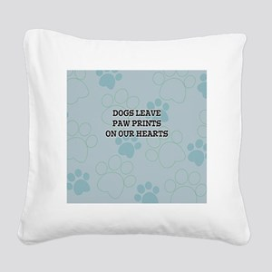 Dogs Leave Paw Prints Square Canvas Pillow