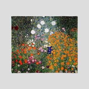 Gustav Klimt Flower Garden Throw Blanket