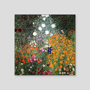 """Gustav Klimt Flower Garden Square Sticker 3"""" x 3"""""""