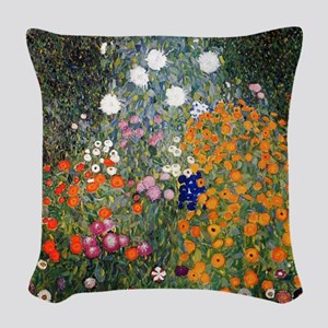 Gustav Klimt Flower Garden Woven Throw Pillow