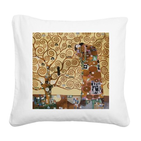 Gustav Klimt Tree Of Life Square Canvas Pillow