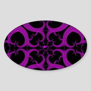 Purple and Black Goth Heart Pattern Sticker (Oval)