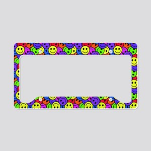 Rainbow Smiley Face Pattern License Plate Holder