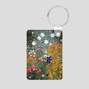 Gustav Klimt Flower Garden Aluminum Photo Keychain