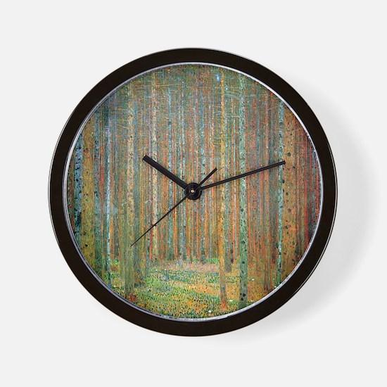 Gustav Klimt Pine Forest Wall Clock