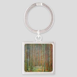 Gustav Klimt Pine Forest Square Keychain