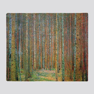 Gustav Klimt Pine Forest Throw Blanket