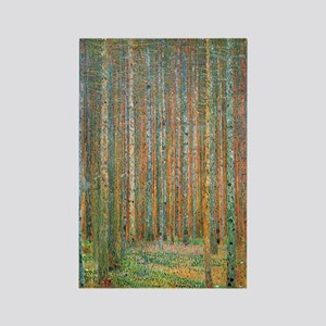 Gustav Klimt Pine Forest Rectangle Magnet