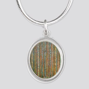 Gustav Klimt Pine Forest Silver Oval Necklace