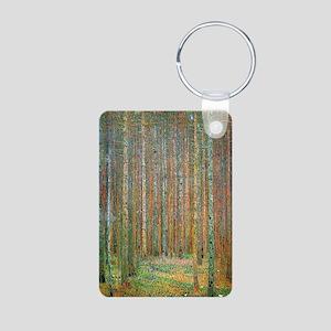 Gustav Klimt Pine Forest Aluminum Photo Keychain