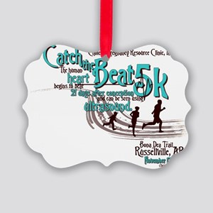 Catch the Beat 5K-Teal Picture Ornament