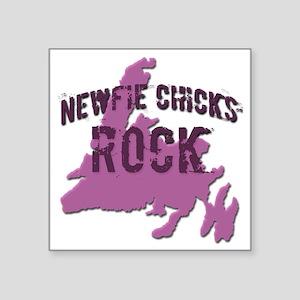 """Newfie Chicks Rock Newfound Square Sticker 3"""" x 3"""""""