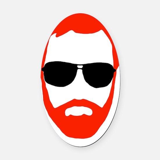 BeardoGlasses Oval Car Magnet