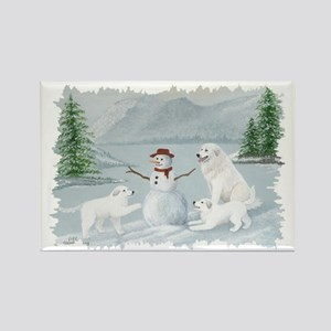 Great Pyrenees Snow Fun Rectangle Magnet