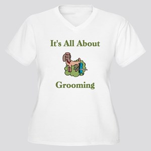 It's All About Grooming Women's Plus Size V-Neck T