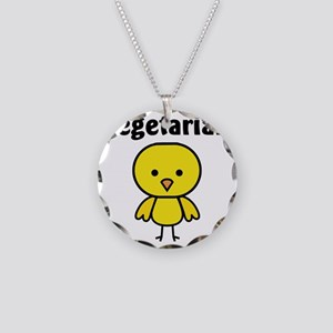Vegetarian Chick Necklace Circle Charm