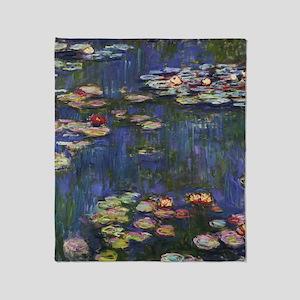Claude Monet Water Lilies Throw Blanket