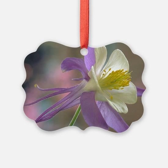 Purple and White Columbine Ornament