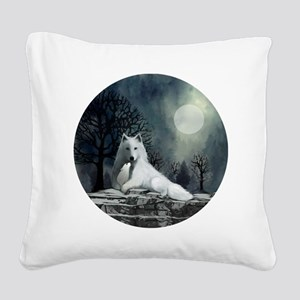 White Wolf and Pup Square Canvas Pillow