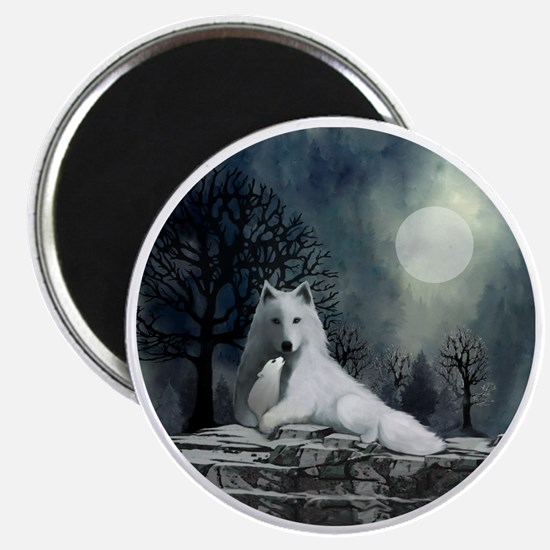 White Wolf and Pup Magnet