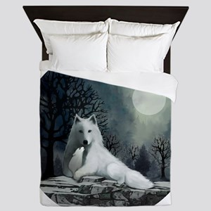 White Wolf and Pup Queen Duvet