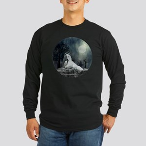 White Wolf and Pup Long Sleeve Dark T-Shirt