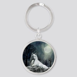 White Wolf and Pup Round Keychain